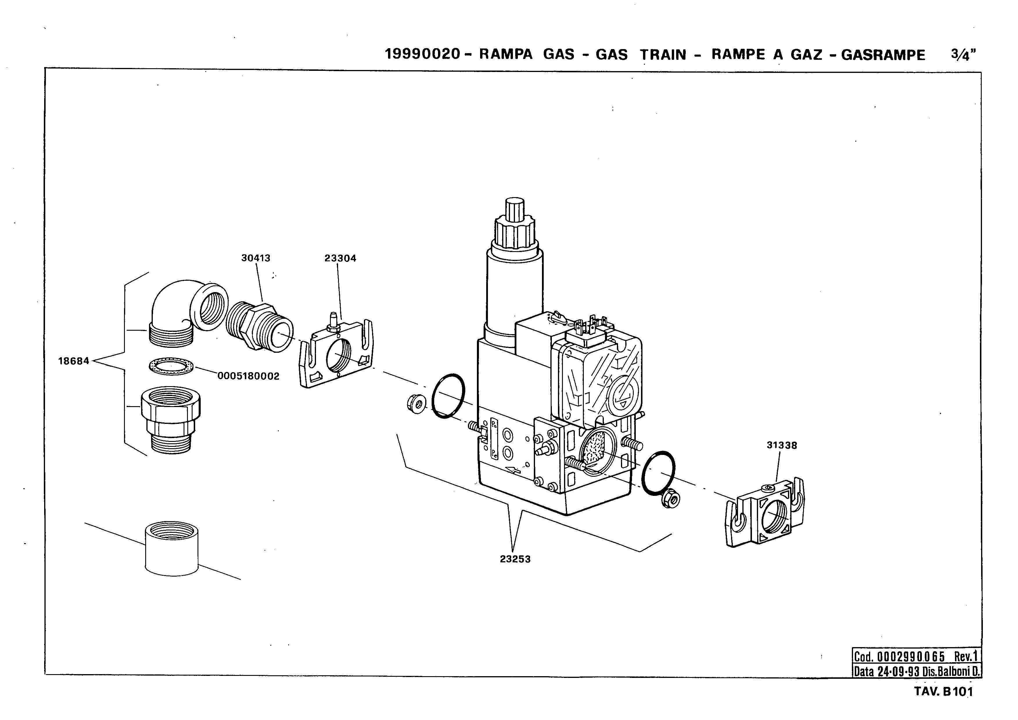 Газовая рампа B101 19990020 1 19930924
