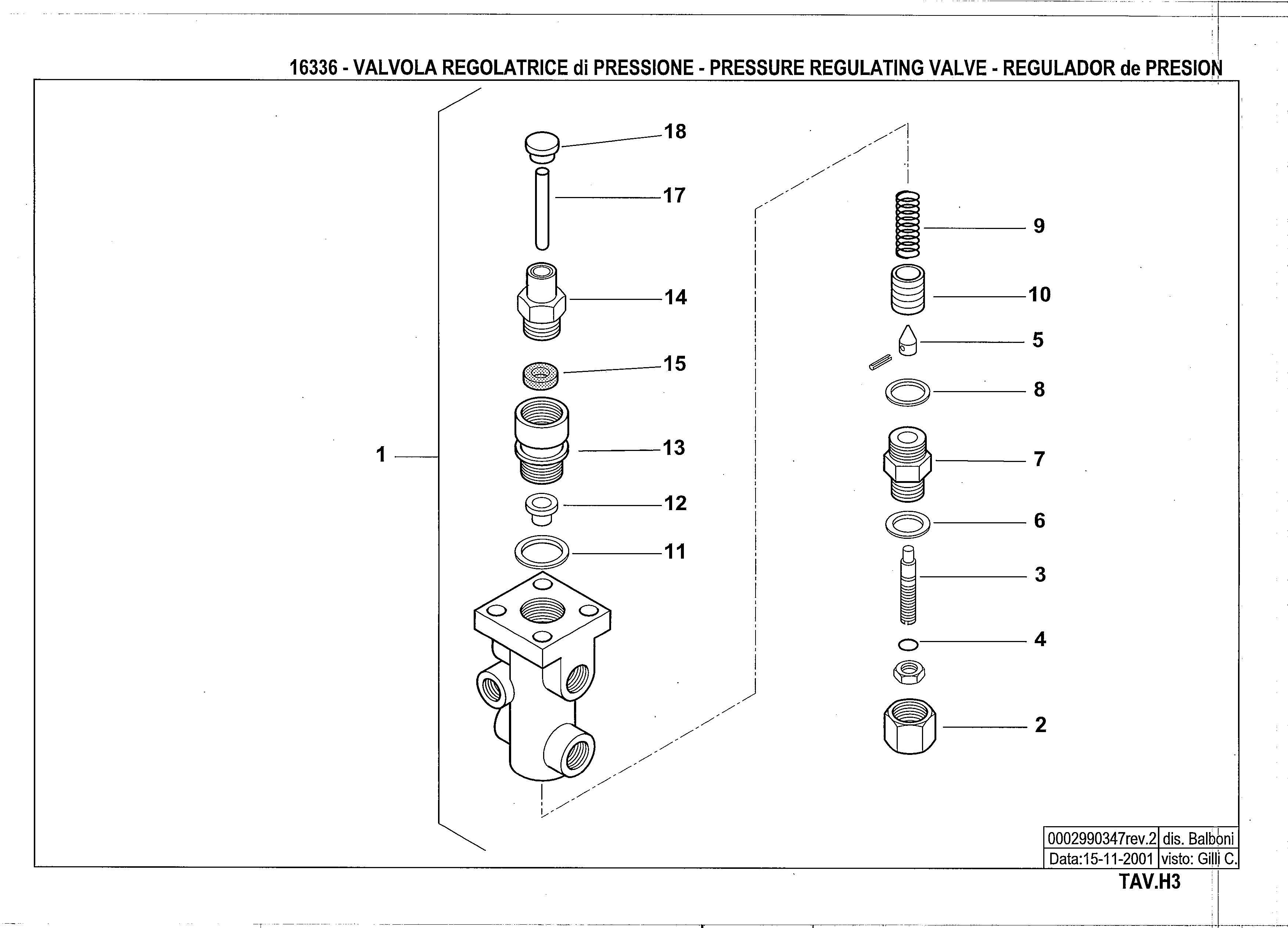 Регулятор давления жидкого топлива H3 16336 2 20011115