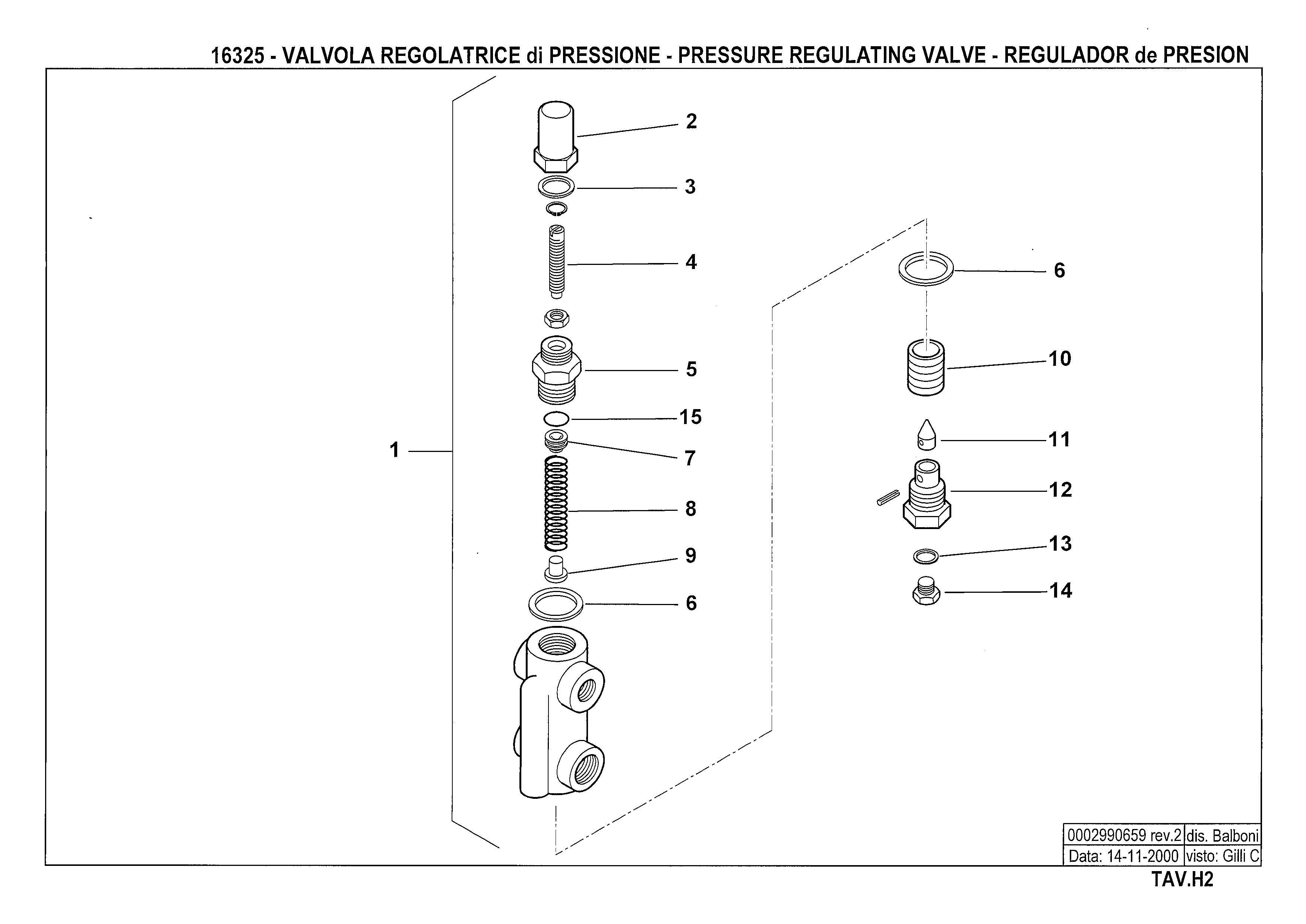 Регулятор давления жидкого топлива H2 16325 2 20001114