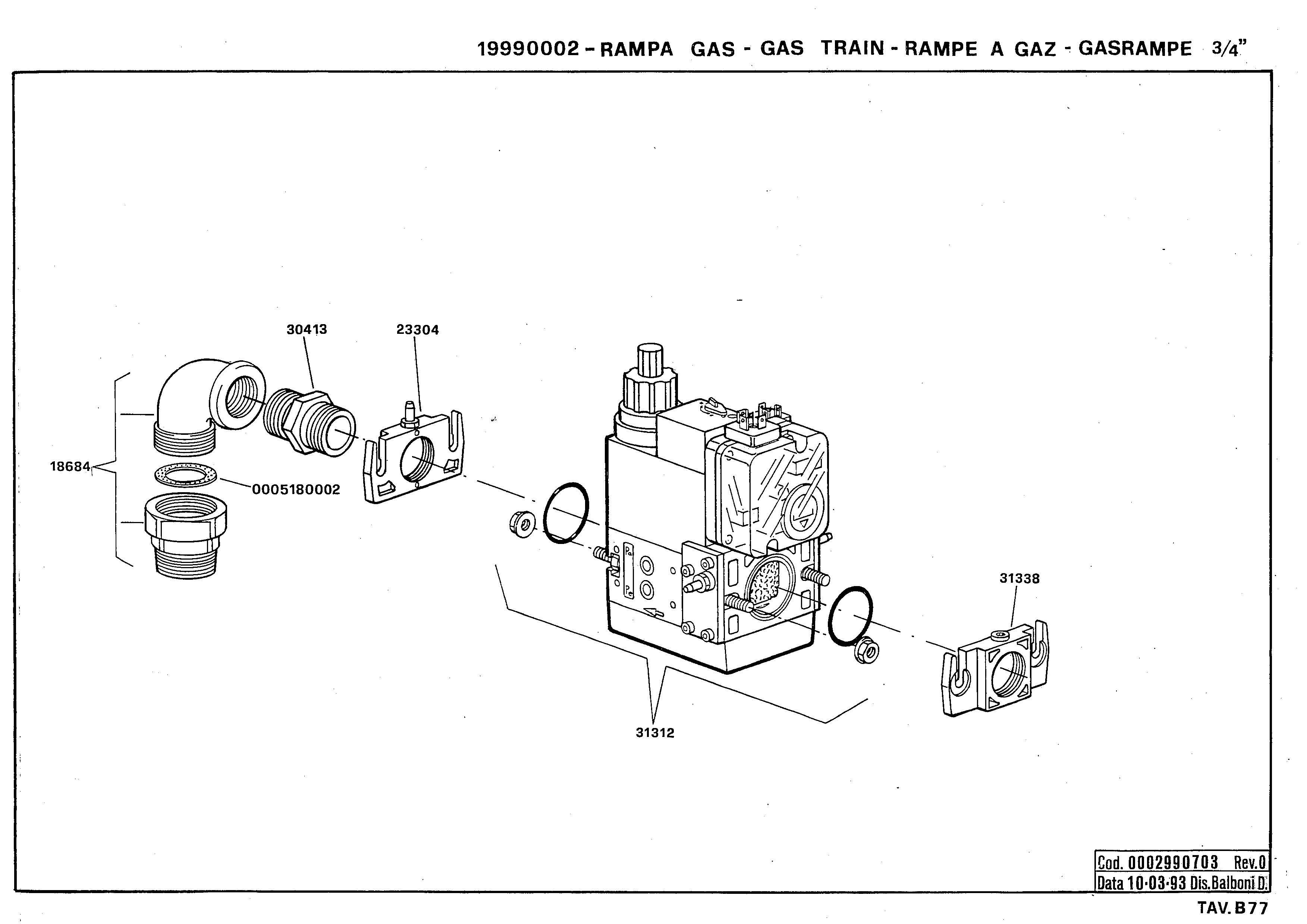 Газовая рампа B77 19990002 0 19930310
