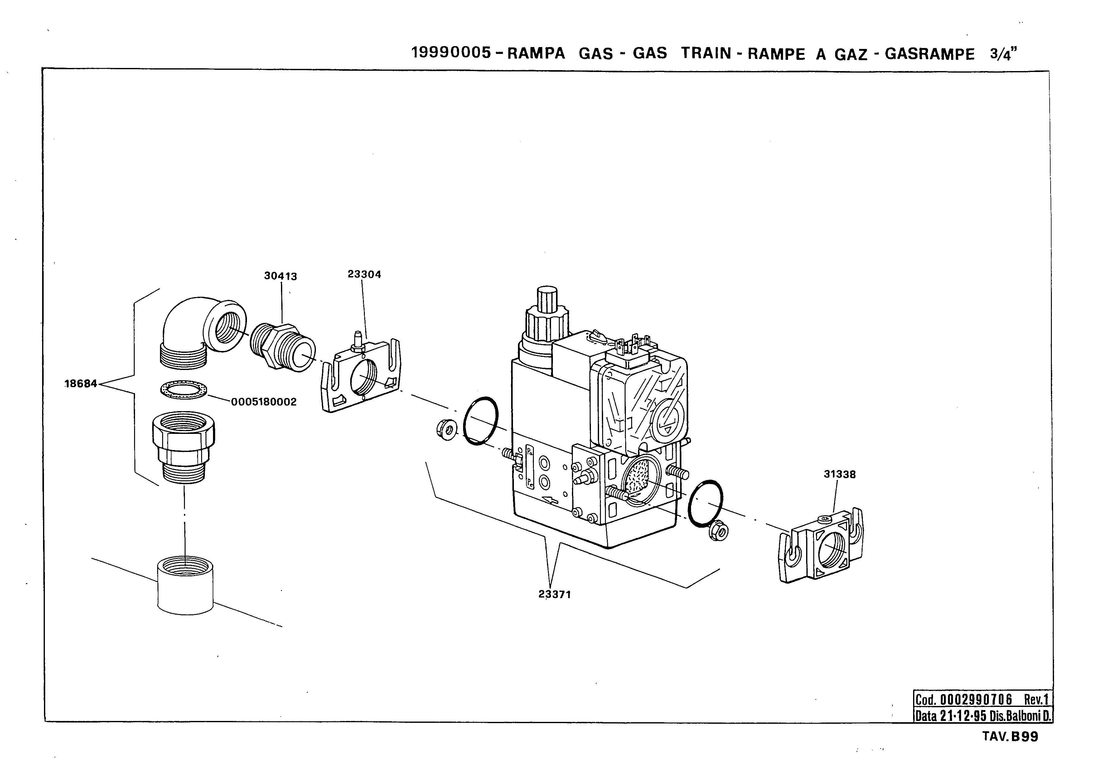 Газовая рампа B99 19990005 1 19951221