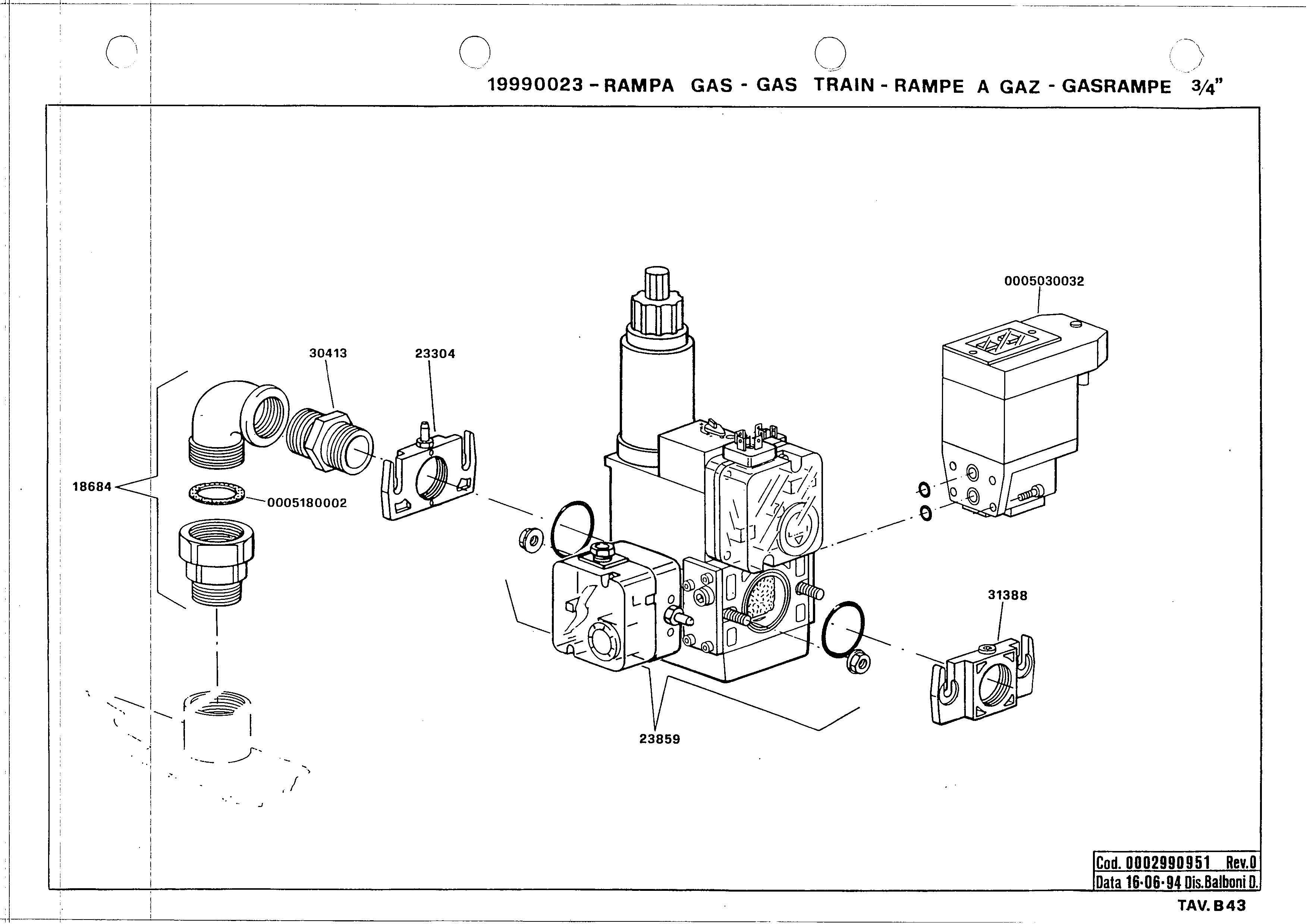 Газовая рампа B43 19990023 0 19940616