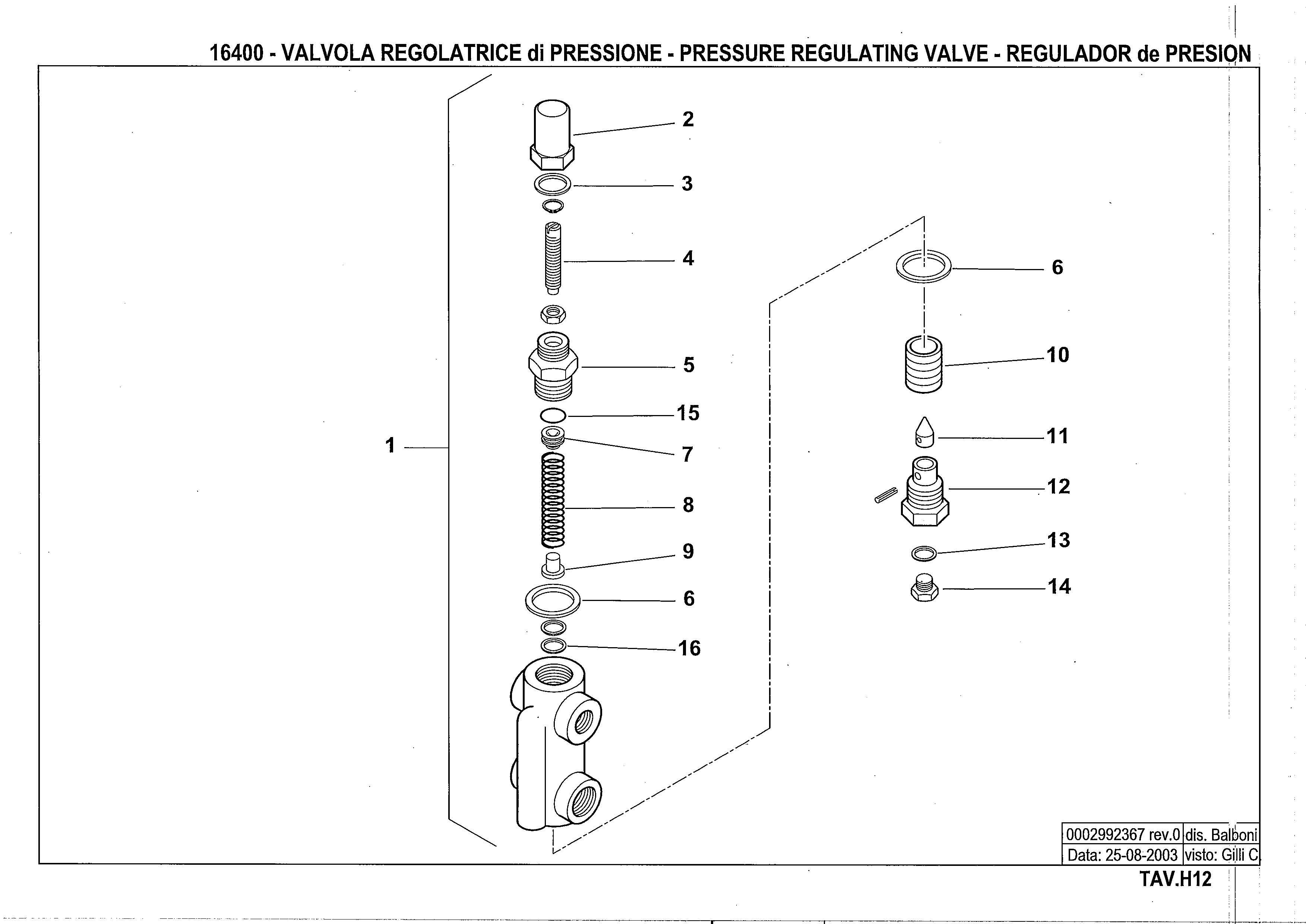Регулятор давления жидкого топлива H12 16400 0 20030825